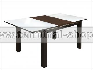 Стол обеденный Классик-3/2 (Венге, Стекло белое)