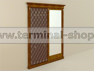 Панель-вешалка с зеркалом ПВЗ-6/1801-П (Орех светлый с тёмной патиной, Терракотовый)