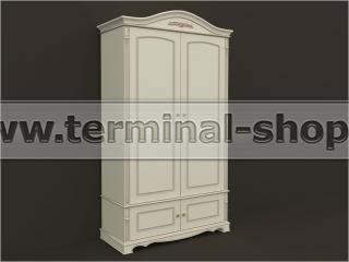 Шкаф двухдверный ES101-2D (Бежевый с коричневой патиной)