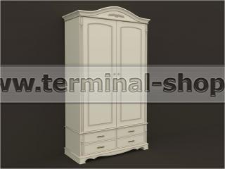 Шкаф двухдверный ES102-2D (Бежевый с коричневой патиной)