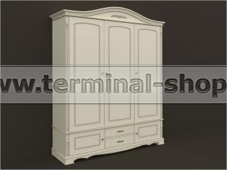 Шкаф трёхдверный ES103-3D (Бежевый с коричневой патиной)