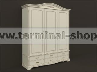 Шкаф трёхдверный ES104-3D (Бежевый с коричневой патиной)