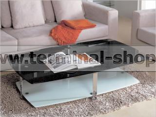 Стол журнальный A1266 (Стекло чёрное с блёстками GA001)