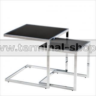 Стол журнальный A1289 (Хром M007, Стекло чёрное BLACK)
