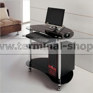 Стол компьютерный V283 (Хром M007, Стекло чёрное BLACK)