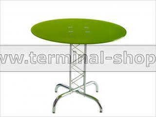 Стол обеденный B2019 (Хром M007, Стекло салатовое GREEN)