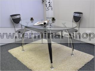 Стол обеденный B2087-3 (Хром M007, Чёрный R022, С надписью Gomlden)