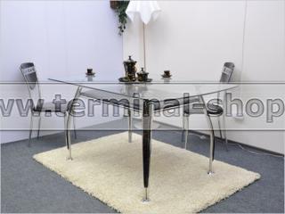 Стол обеденный B2087 (Хром M007, Лак коричневый R017, С планкой без надписи)