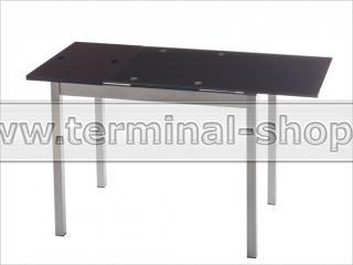 Стол обеденный B2170-2 (Матовый M004, Стекло коричневое BROWN, Вставка коричневая BROWN)