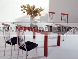 Стол обеденный B2189 (Вишня Q003, Стекло чёрное BLACK)