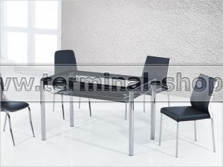 Стол обеденный B21 (Хром, Стекло чёрное с рисунком)