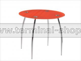 Стол обеденный B2206C (Хром M007, Стекло оранжевое ORANGE)
