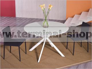 Стол обеденный B2401 (Глянец белый W023, Стекло белое SUPER WHITE)