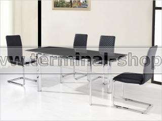 Стол обеденный DT128 (Хром + Матовый, Стекло чёрное)