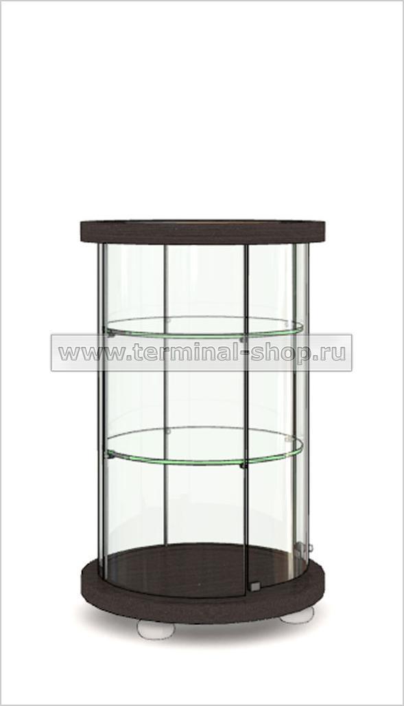 Витрина Круглая со стеклянной вставкой в верхней столешнице h850мм