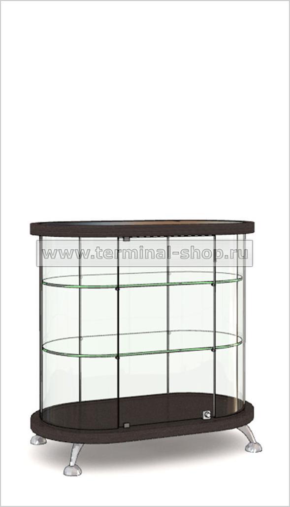 Витрина Овальная со стеклянной вставкой в верхней столешнице h908мм