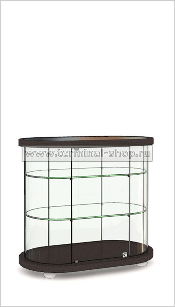 Витрина Овальная со стеклянной вставкой в верхней столешнице h850мм