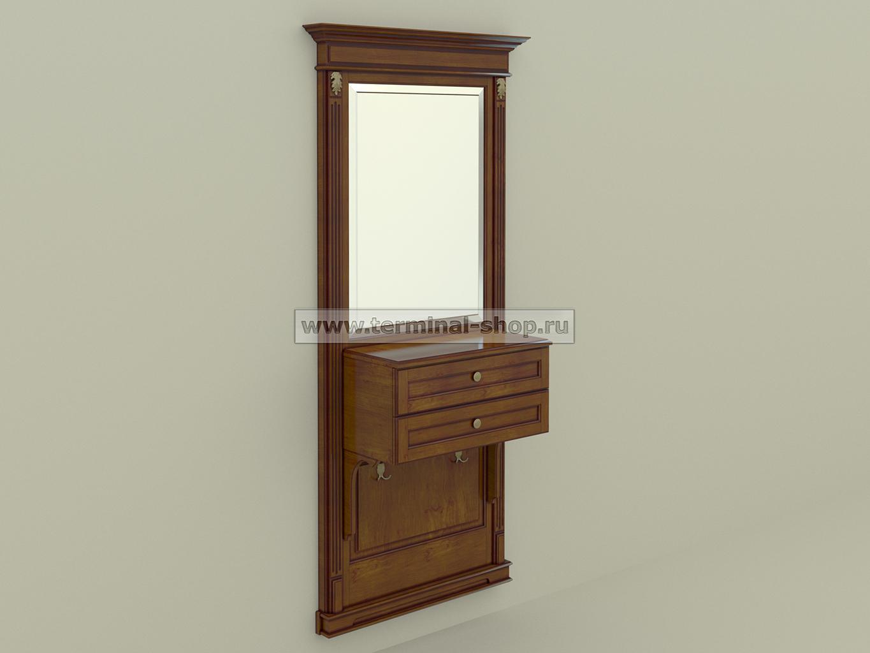 Панель-зеркало с консолью ПЗК-6/1000 (Орех светлый с тёмной патиной)