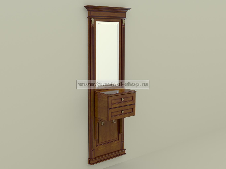 Панель-зеркало с консолью ПЗК-6/770 (Орех светлый с тёмной патиной)