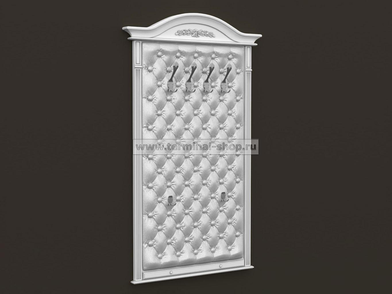 Панель-вешалка настенная ES413 (Белый с серой патиной, Белый)