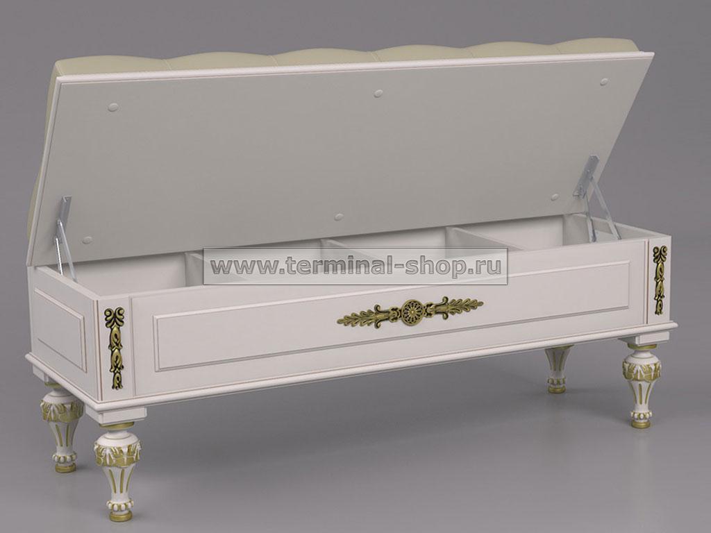Банкетка БК-100/Я (Белый с коричневой патиной)