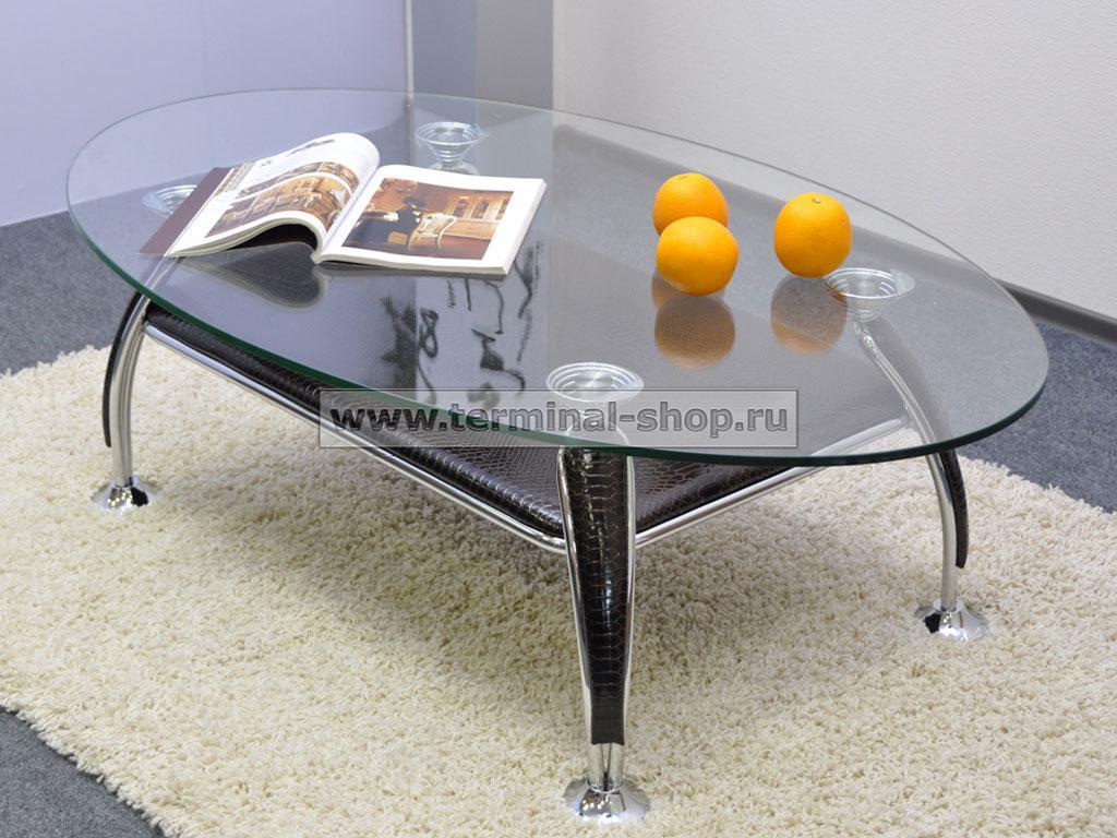 Стол журнальный A1119-1 (Хром M007, Лак коричневый R017)