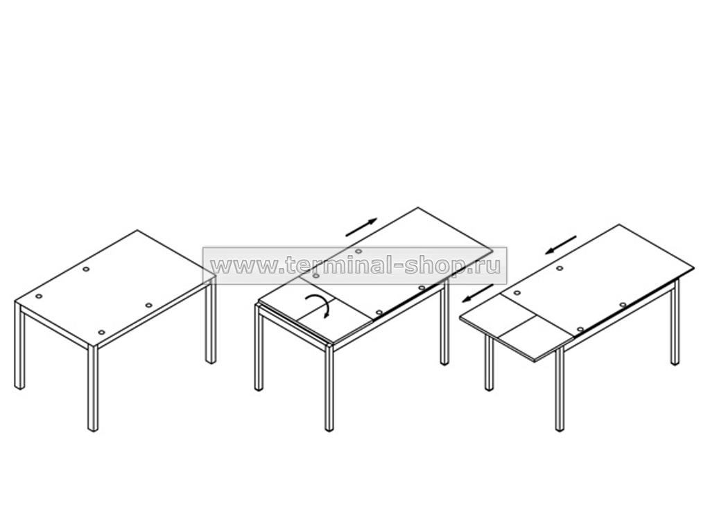 Стол обеденный B2170 (Схема трансформации)