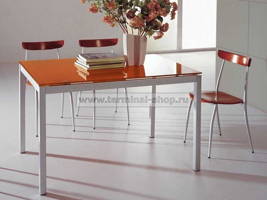 Стол обеденный B2199 (Матовый M004, Стекло оранжевое ORANGE)