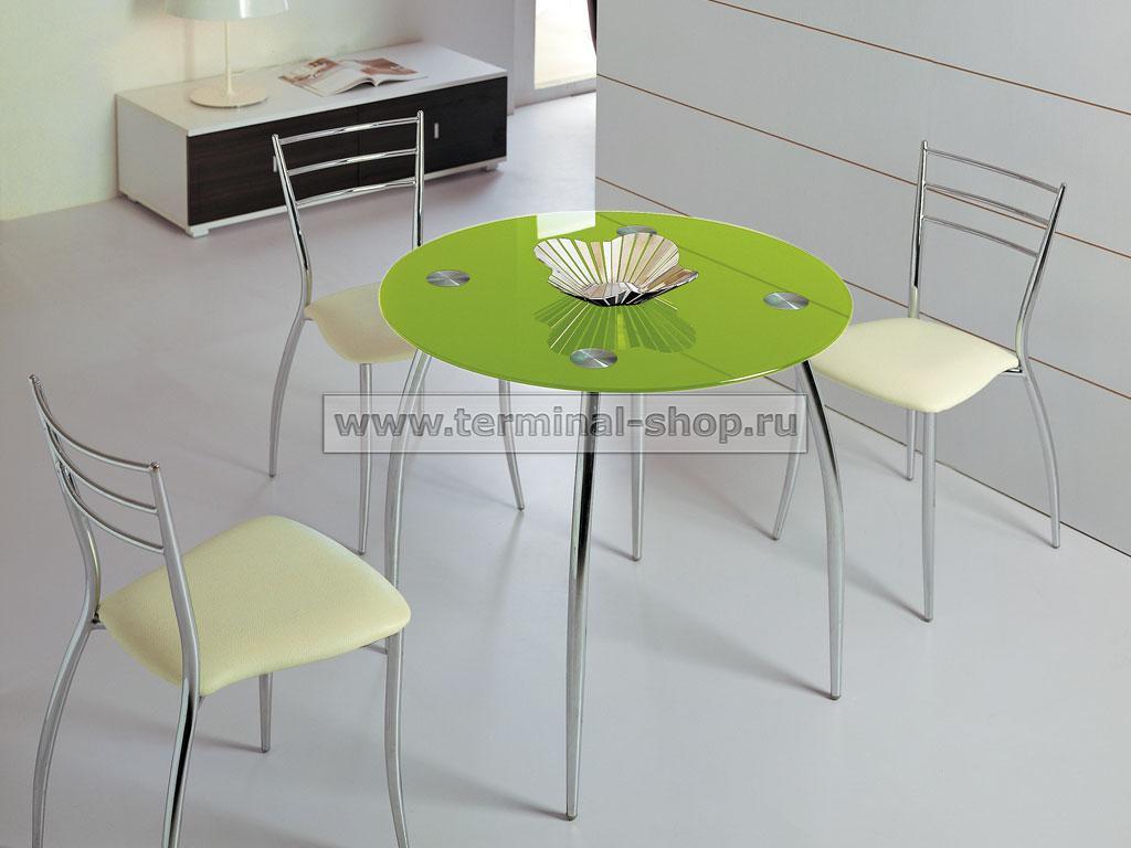 Стол обеденный B2206C (Хром M007, Стекло салатовое GREEN)