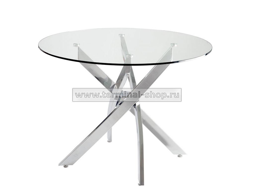 Стол обеденный DT17 (Хром, Стекло прозрачное)