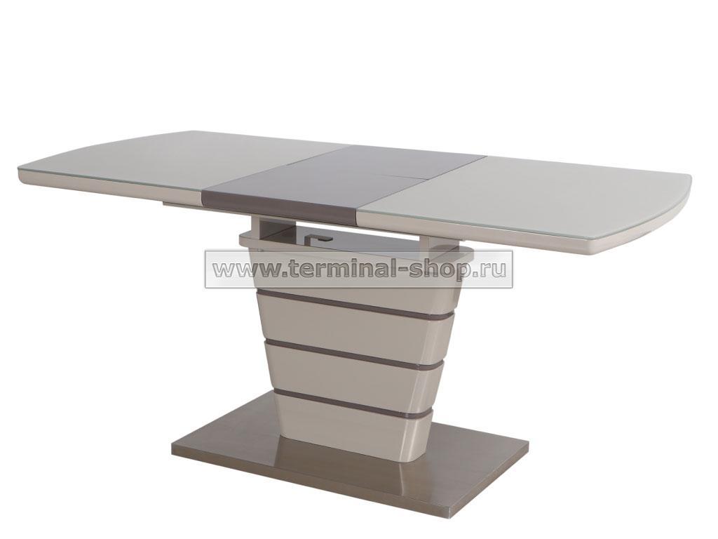 Стол обеденный DT2123S-1 (Глянец капучино + Латте, Стекло капучино)