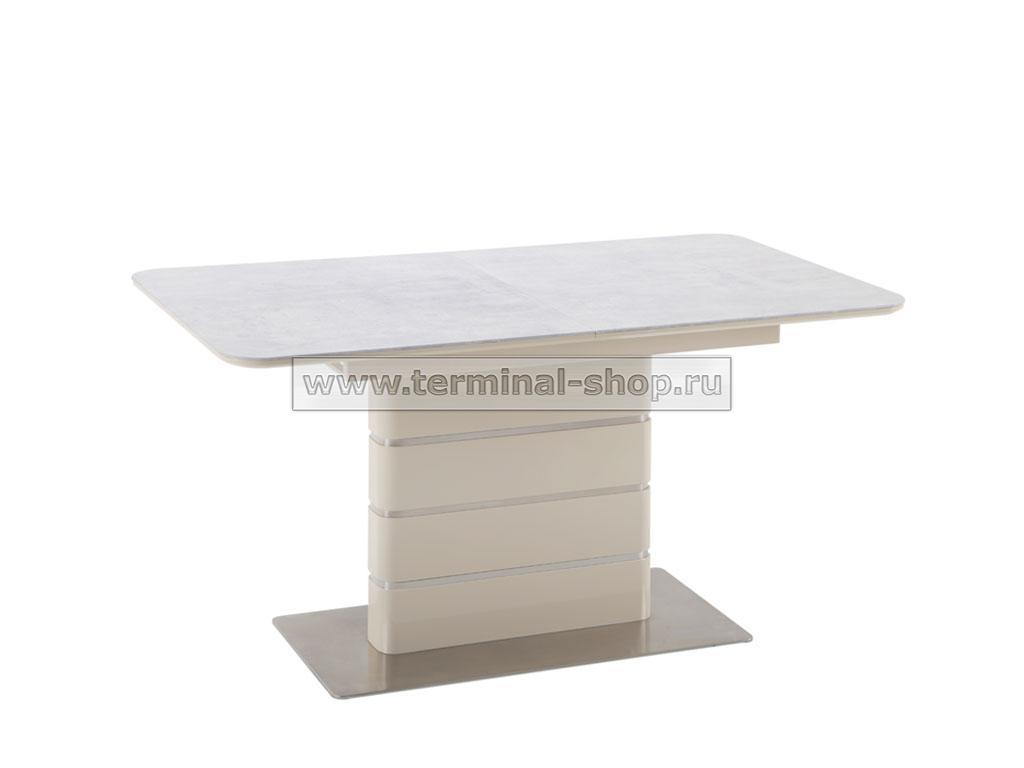 Стол обеденный DT2128 (Глянец Бежевый, Керамика Бежево-серая)