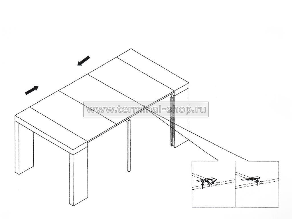 Стол-консоль N110 (схема трансформации)