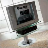 ТВ тумба V49 (Матовый M004, Верхнее стекло прозрачное, Нижнее стекло матовое)