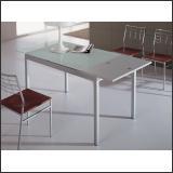 Стол обеденный B2170 (Матовый M004, Стекло белое WHITE, Вставка белая ME005)