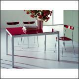 Стол обеденный B2199 (Матовый M004, Стекло красное RED)