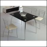 Стол обеденный B2206 (Хром M007, Стекло чёрное BLACK)