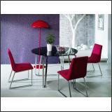 Стол обеденный B2226D (Хром M007, Стекло чёрное BLACK)