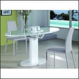 Стол обеденный B2332-1 (Глянец белый W023, Стекло белое WHITE)