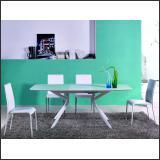 Стол обеденный B2381-1 (Глянец белый W023, Стекло белое WHITE)
