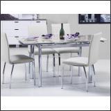 Стол обеденный DT215-K302TA (Хром + Матовый, Стекло супер белое)