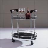 Стол сервировочный V200 (Хром M007, Венге Q004, Стекло чёрное BLACK)