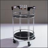 Стол сервировочный V201 (Хром M007, Венге Q004, Стекло чёрное BLACK)